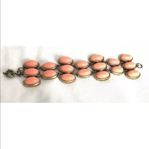 J Crew Peach Coral Wide Statement Bracelet